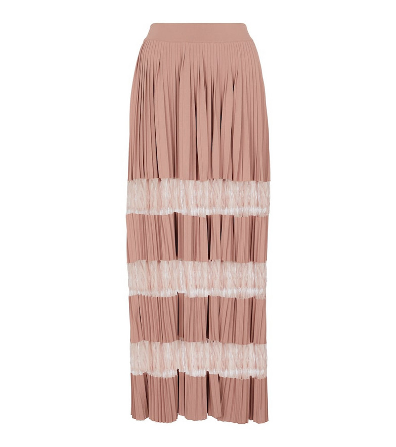 Alaïa Pleated lace-insert maxi skirt in pink