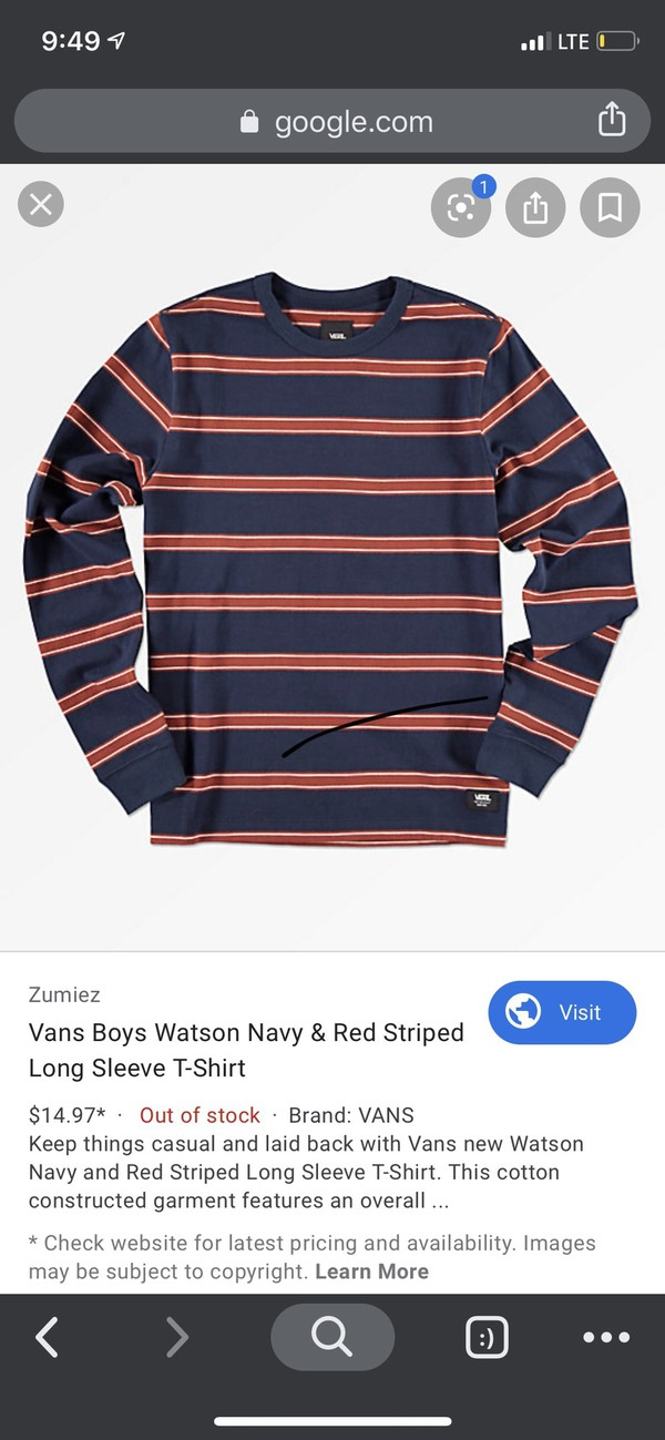 shirt blackish blueish red and white stripes