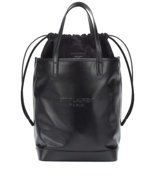 Saint Laurent Teddy leather bucket bag in black