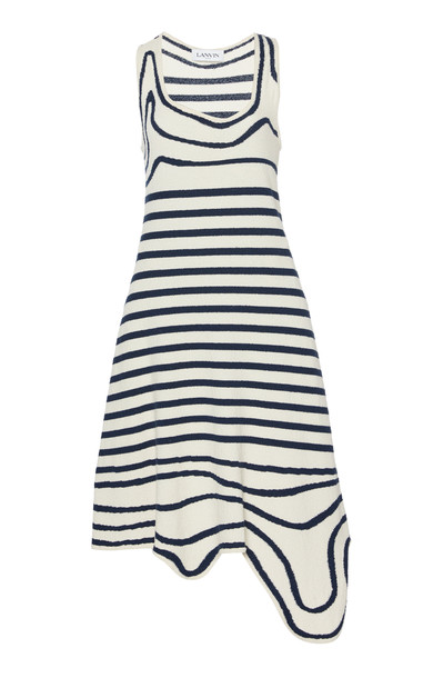 Lanvin Asymmetric Printed Cotton Knitted Dress Size: XS in navy