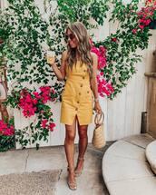 dress,mini dress,yellow dress,sleeveless dress,sandals,handbag