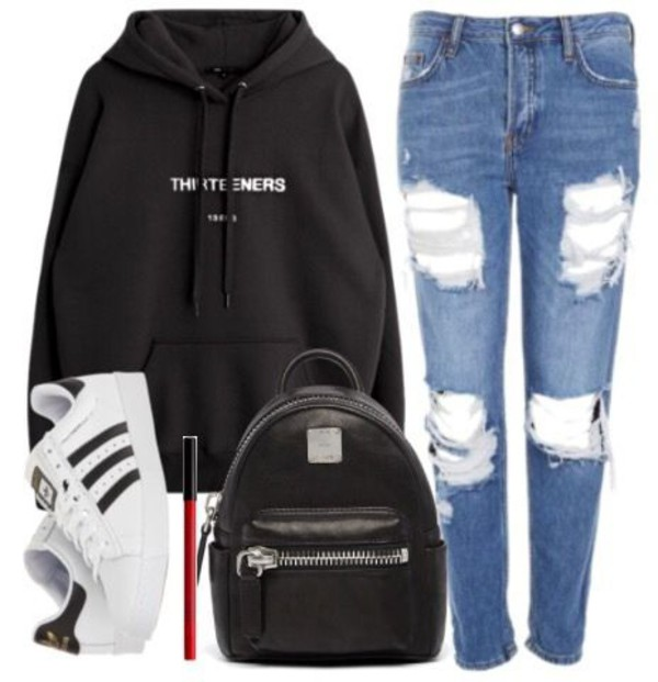 sweater hoodie jeans adidas shoes