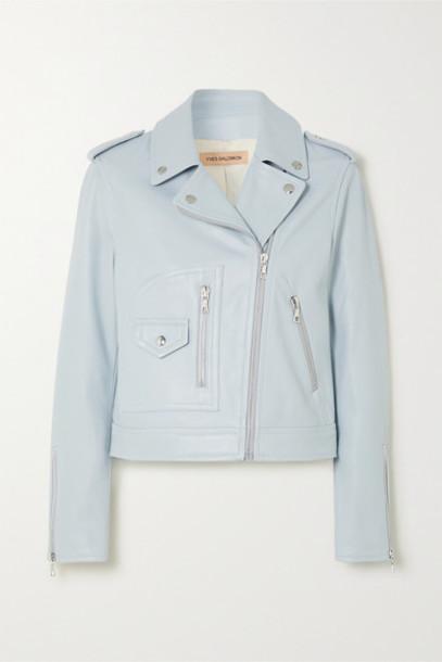 Yves Salomon - Leather Biker Jacket - Light blue