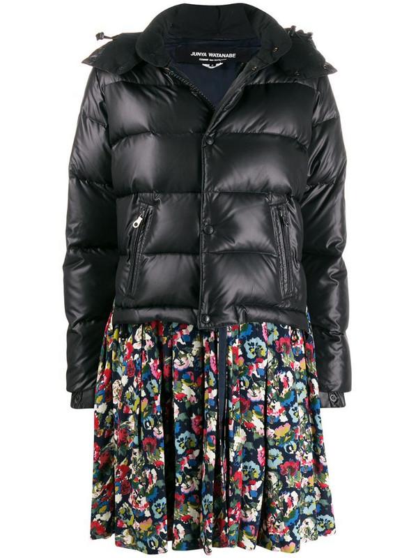 Junya Watanabe floral print peplum puffer jacket in black