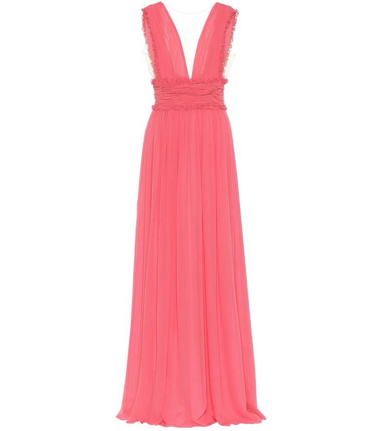 Costarellos Plissé silk-blend chiffon gown in pink
