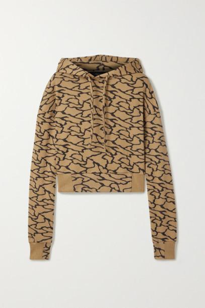 TWENTY Montréal - Hyper Reality Cropped Cotton-blend Jacquard-knit Hoodie - Gold