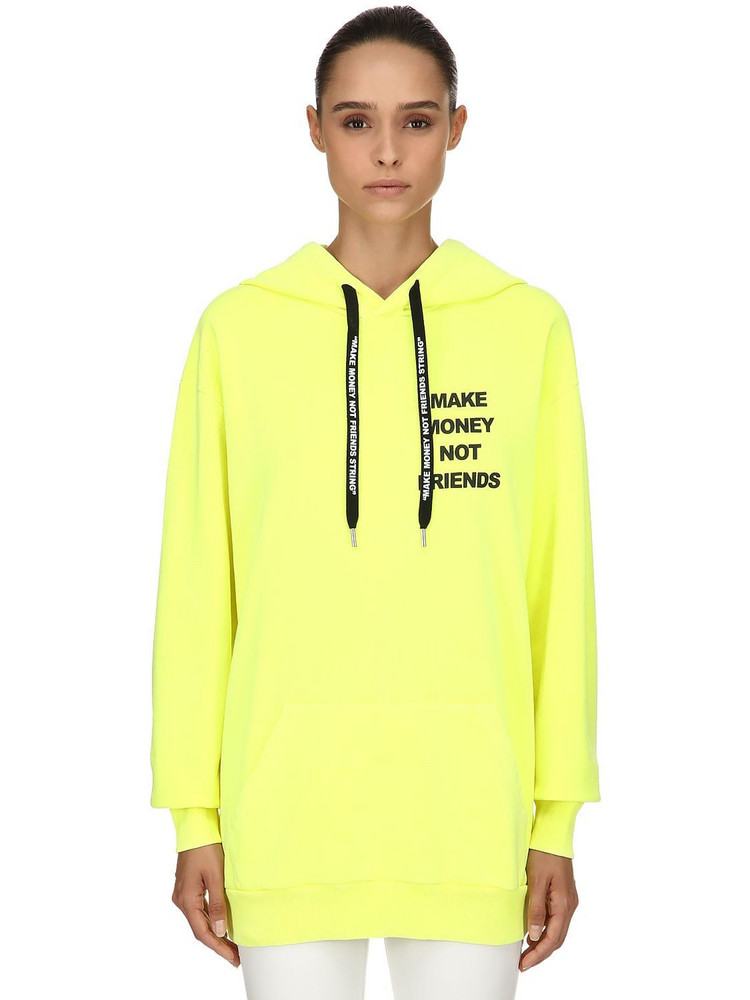 MAKE MONEY NOT FRIENDS Logo Print Cotton Sweatshirt Hoodie in yellow