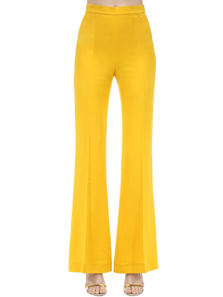 MARIANNA SENCHINA High Waist Flared Viscose Crepe Pants in yellow