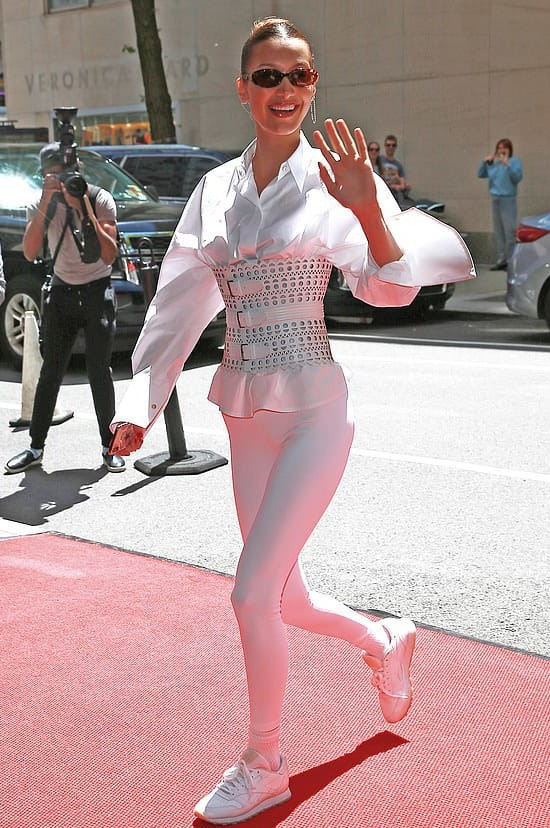 top bella hadid celebrity all white everything belt model off-duty leggings