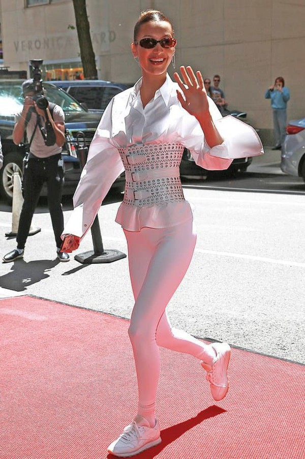 top bella hadid celebrity all white everything belt model off-duty leggings