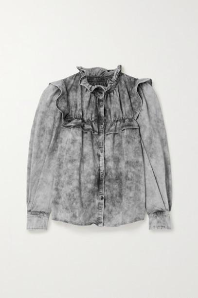 Isabel Marant Étoile - Idety Oversized Ruffled Acid-wash Denim Shirt - Gray