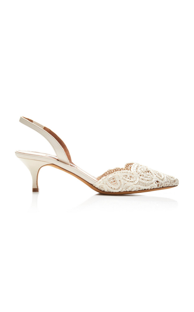 Tabitha Simmons Phebe Lace Slingback Sandals in white