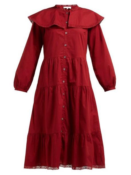 Sea - Sailor Collar Tiered Cotton Midi Shirtdress - Womens - Red