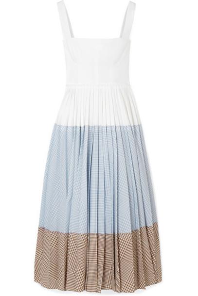 Lela Rose - Pleated Paneled Cotton-blend Poplin And Wool Midi Dress - White