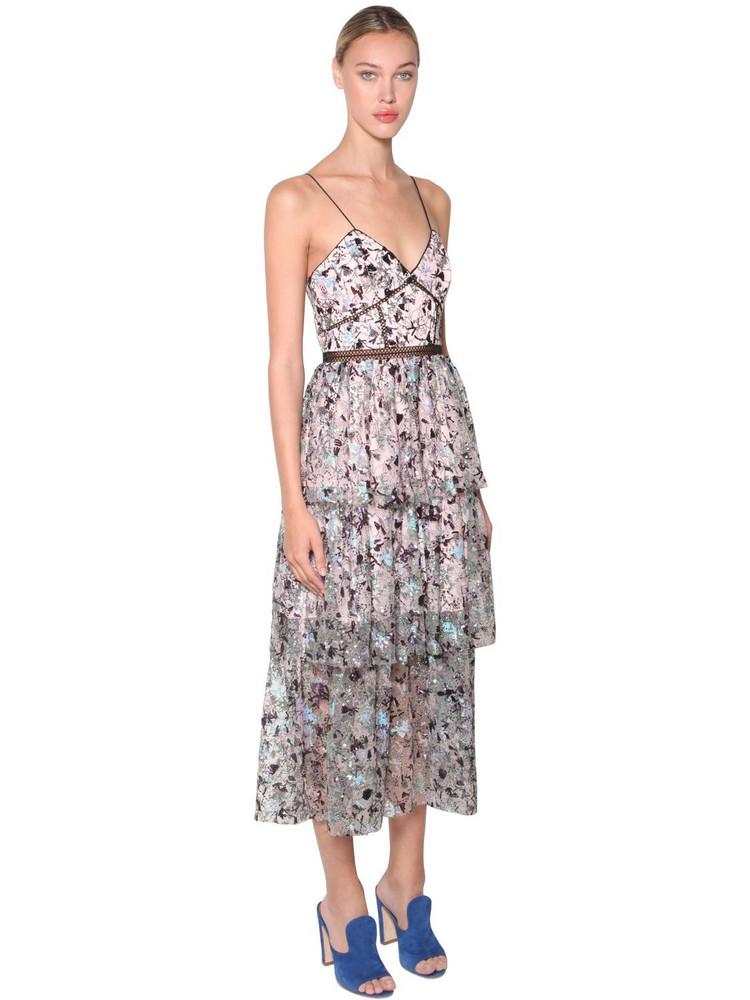 SELF-PORTRAIT Azelea Embellished Midi Dress in pink / multi