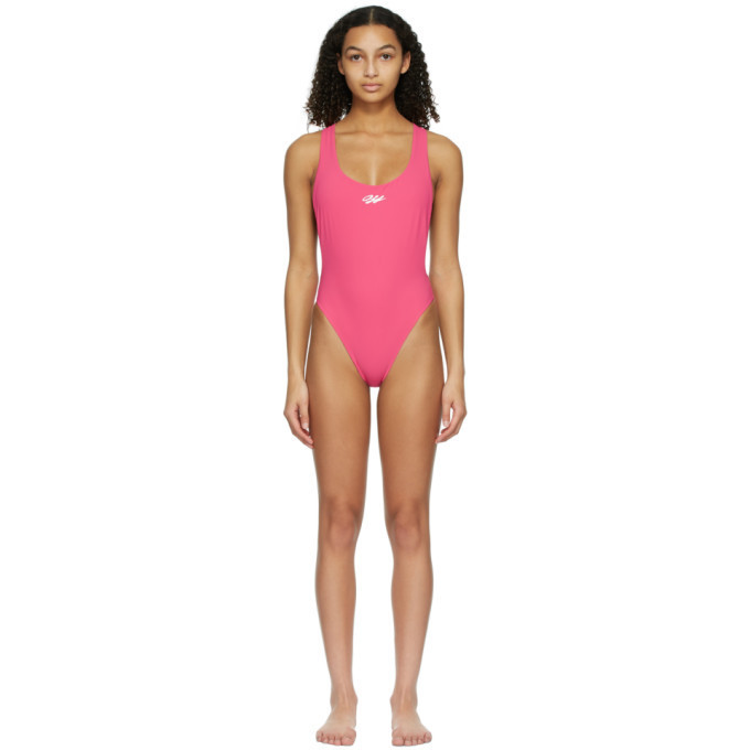 Off-White Pink Logo Tape One-Piece Swimsuit in fuchsia