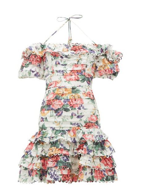 Zimmermann - Allia Floral Print Pintuck Linen Dress - Womens - White