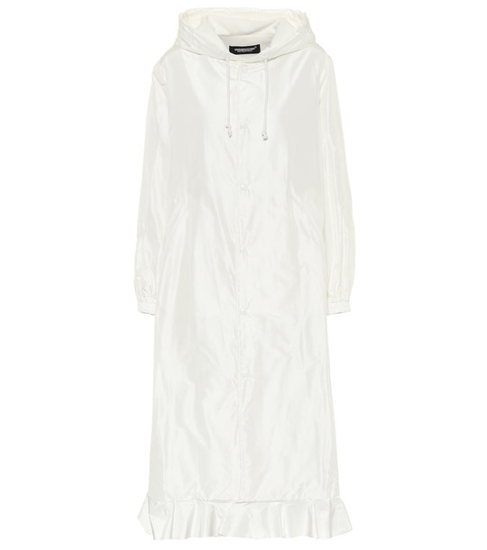 Undercover Ruffle-trimmed silk satin coat in white