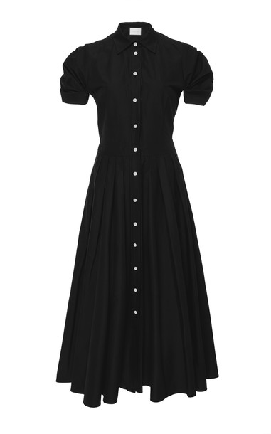 Alexis Gyles Pleated Cotton-Blend Midi Dress Size: M in black