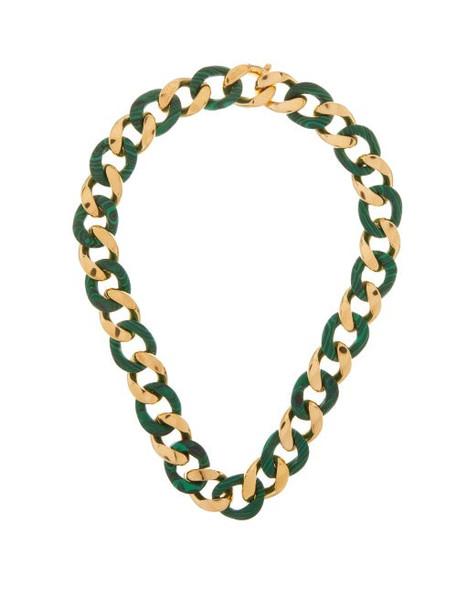 Bottega Veneta - Malachite And 18kt Gold-plated Chain Necklace - Womens - Gold Multi