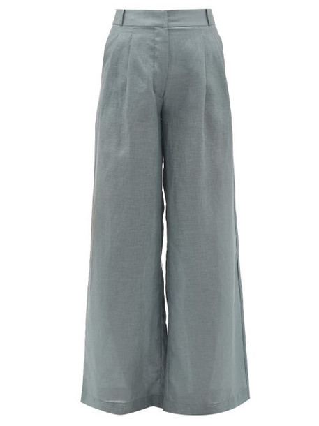 Asceno - Rivello High-rise Pleated Cotton Trousers - Womens - Grey