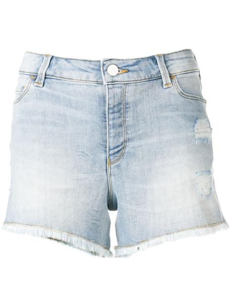 Emporio Armani frayed denim shorts in blue