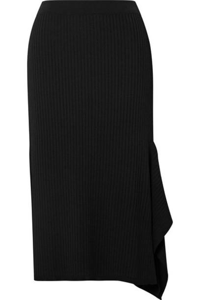 Max Mara - Fano Draped Asymmetric Ribbed-knit Midi Skirt - Black