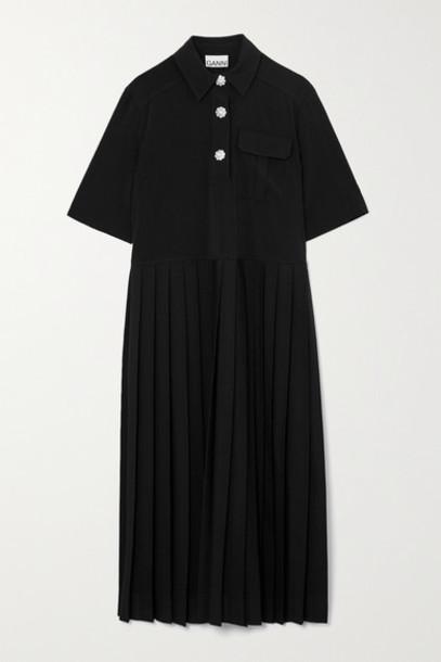 GANNI - Crystal-embellished Pleated Woven Midi Shirt Dress - Black