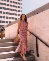 dress,maxi dress,slit dress,sleeveless dress,floral,floral dress,slide shoes,handbag,wood