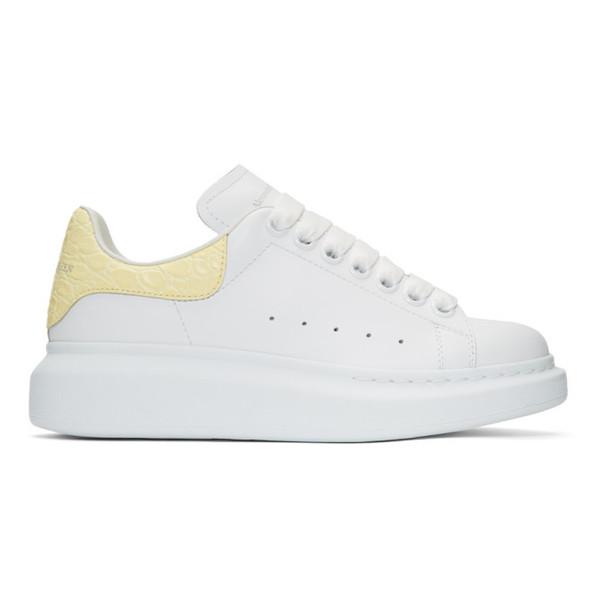 Alexander McQueen SSENSE Exclusive White & Yellow Croc Oversized Sneakers