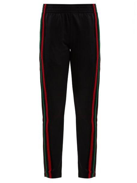 Wales Bonner - Striped Crochet Detailed Track Pants - Womens - Black Multi