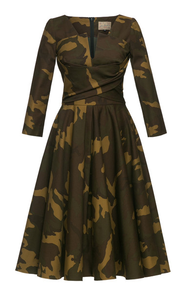 Lena Hoschek Sergeant Camouflage Cotton-Blend Dress Size: L in print