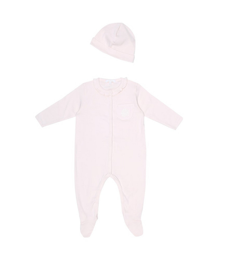 Chloé Kids Baby cotton onesie and hat set in pink