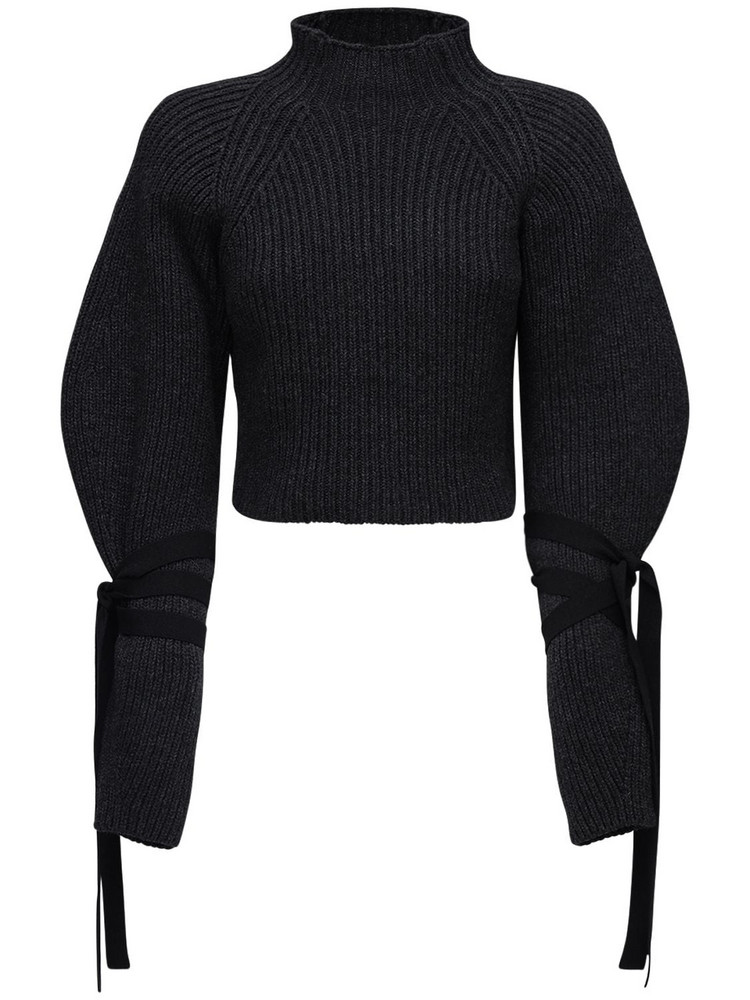 ELLERY Crop Turtleneck Wool Blend Sweater in grey