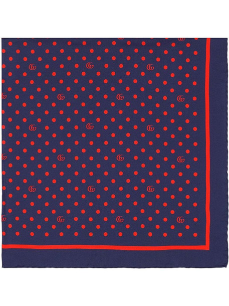 Gucci polka dot and double G silk scarf in blue