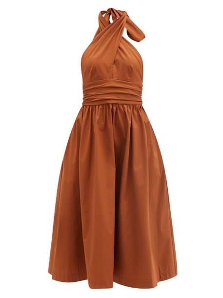 Staud - Moana Keyhole Halter-neck Cotton-blend Dress - Womens - Light Brown