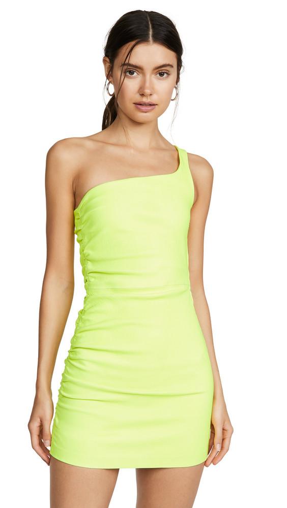 SPRWMN Shirred One Shoulder Dress in green