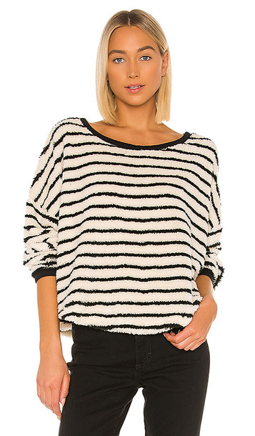 Free People Breton Striped Pullover in Black & White
