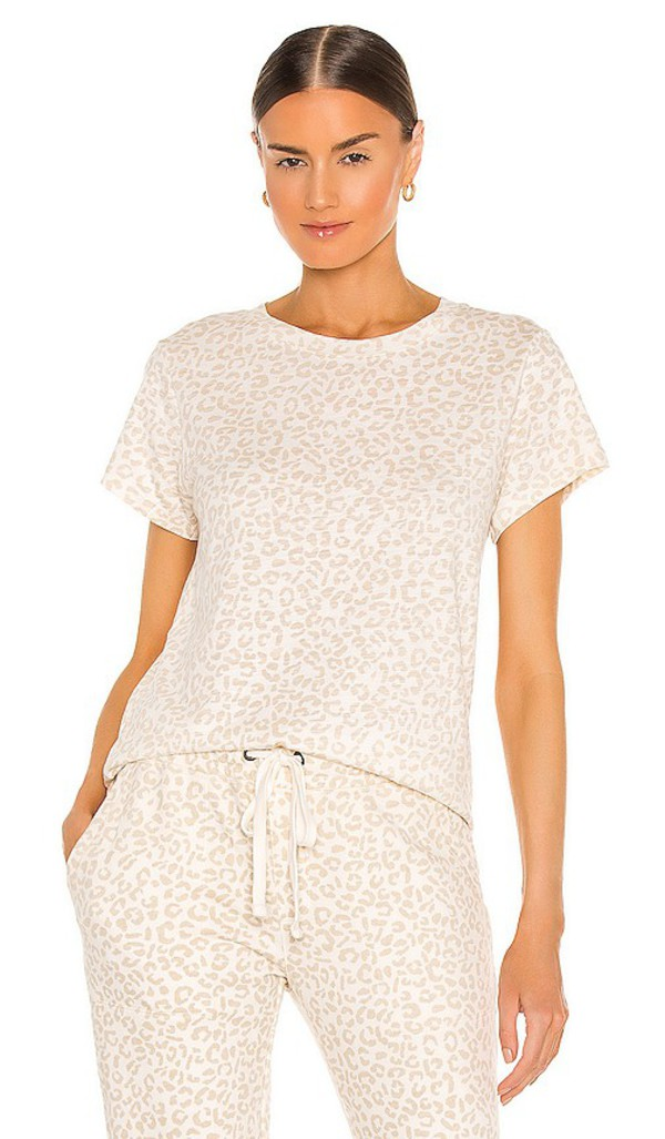 Sanctuary Perfect Tee in White in leopard