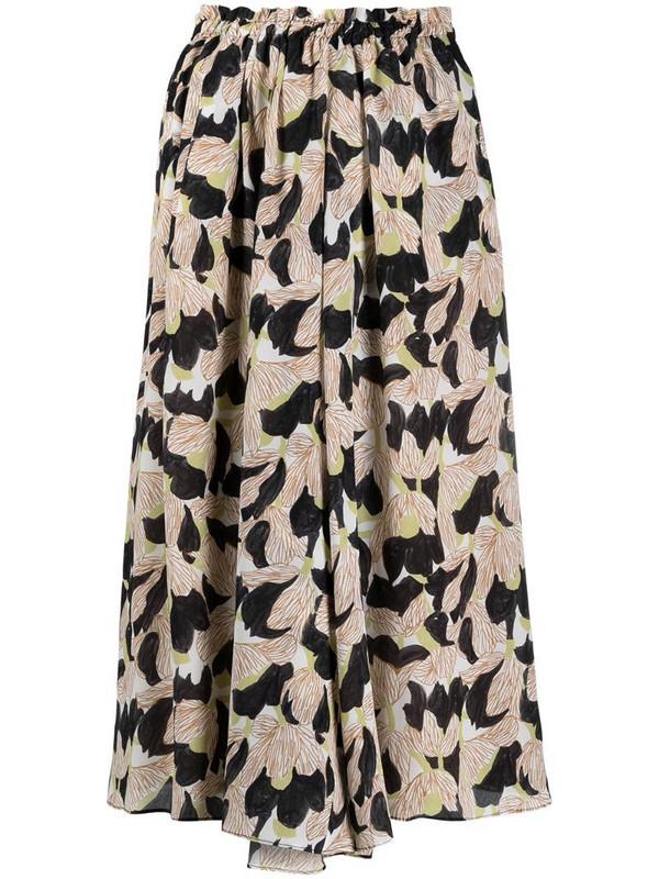 Alysi high-rise floral-print silk skirt in neutrals