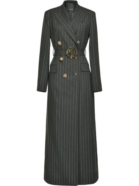 Pinko pinstriped midi coat in black