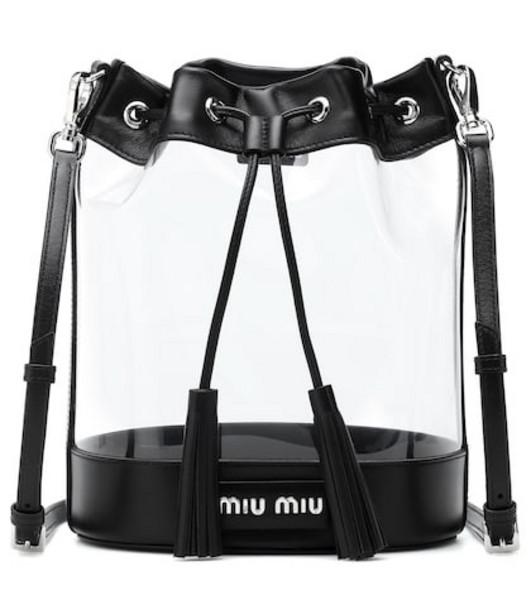 Miu Miu Leather-trimmed PVC bucket bag in black