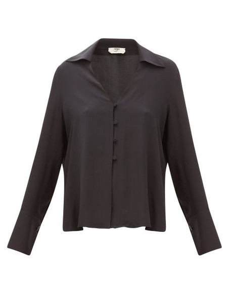 Fendi - High-neck Poplin Blouse - Womens - Black