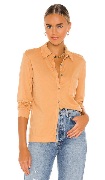LA Made Century Button Up Top in Tan in camel