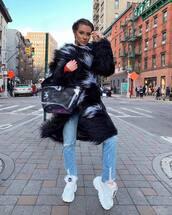 bag,prada bag,pvc,white shoes,platform shoes,ripped jeans,cropped jeans,faux fur coat,black coat