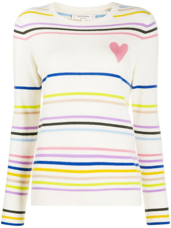 Chinti and Parker heart striped cashmere jumper in neutrals