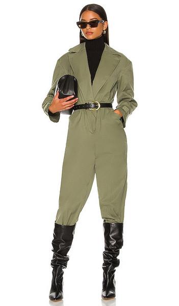 L'Academie Kaleena Jumpsuit in Army in green