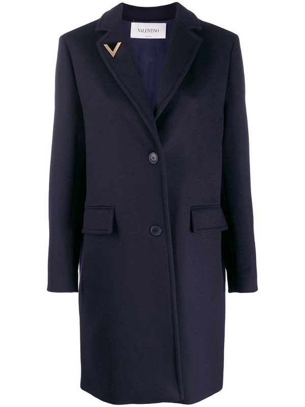 Valentino V pin single-breasted coat in blue