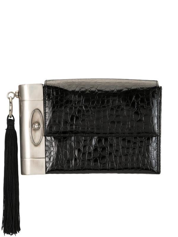 Versace Pre-Owned case detail crocodile embossed clutch in black
