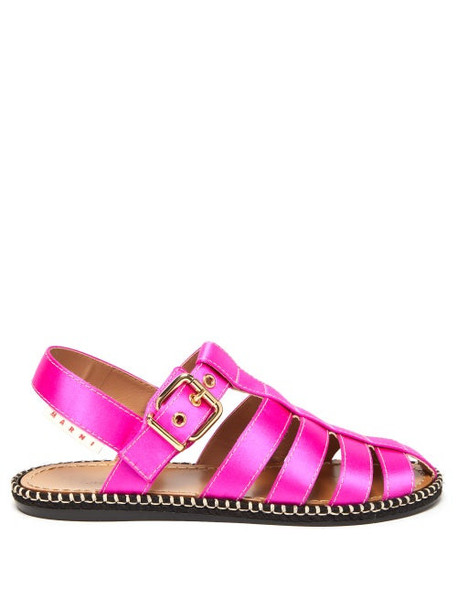 Marni - Satin Fisherman Sandals - Womens - Fuchsia